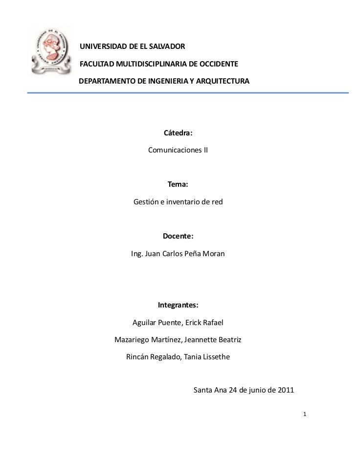 UNIVERSIDAD DE EL SALVADORFACULTAD MULTIDISCIPLINARIA DE OCCIDENTEDEPARTAMENTO DE INGENIERIA Y ARQUITECTURA               ...