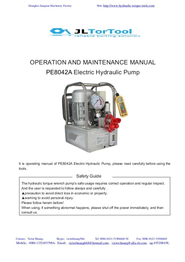 Manual for our jl electric hydraulic torque wrench pumps pe8042 a