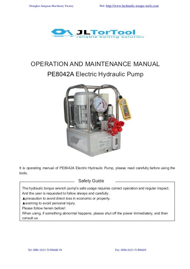 Manual for our jl hydraulic torque wrench pump pe8042 a