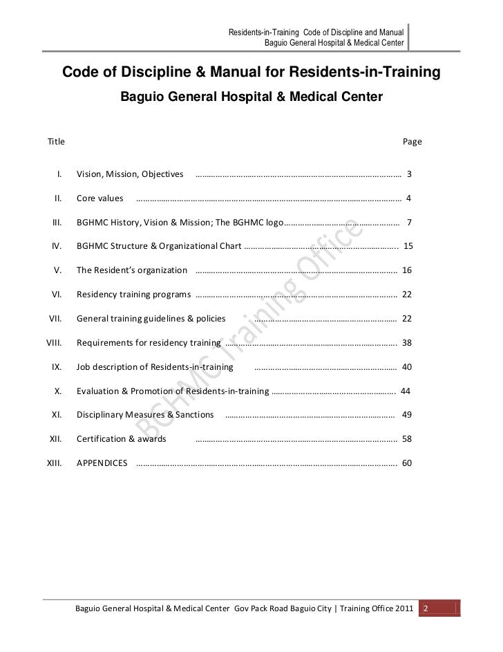 Bgh Mc Code Of Discipline Amp Manual For Residents In Training