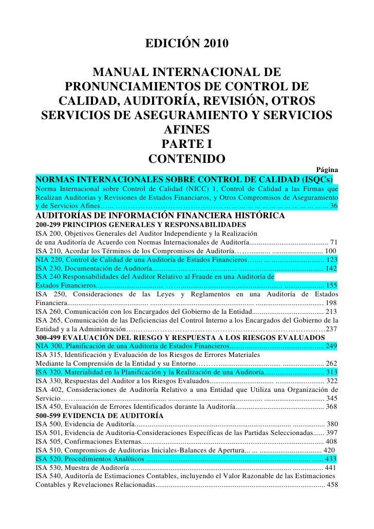 Manual internacional de pronunciamientos de control de calidad, auditoría, revisión, otros servicios de aseguramiento y servicios afines edicion 2010 , en castellano