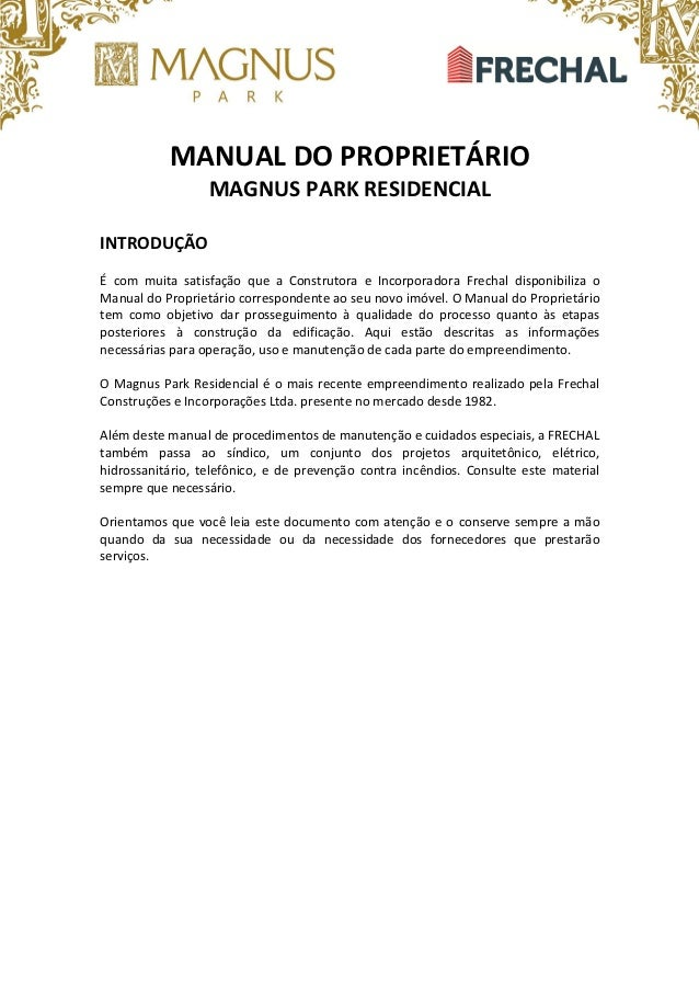 Manual Magnus Apartamento Pronto