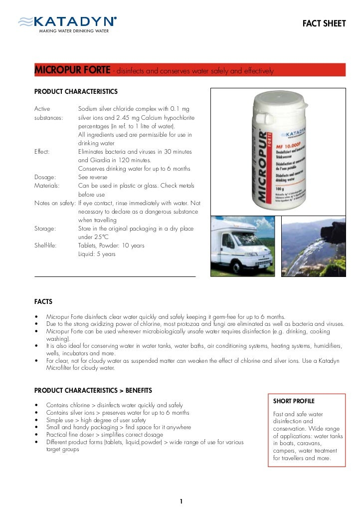 FACT SHEETMICROPUR FORTE - disinfects and conserves water safely and effectivelyPRODUCT CHARACTERISTICSActive           So...