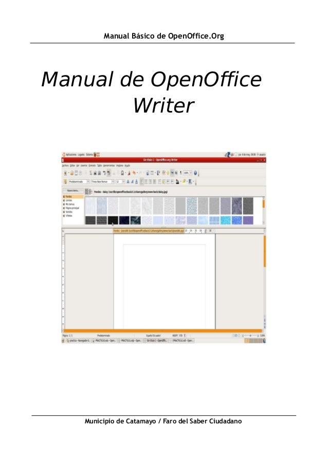 Manual Básico de OpenOffice.OrgManual de OpenOffice        Writer   Municipio de Catamayo / Faro del Saber Ciudadano