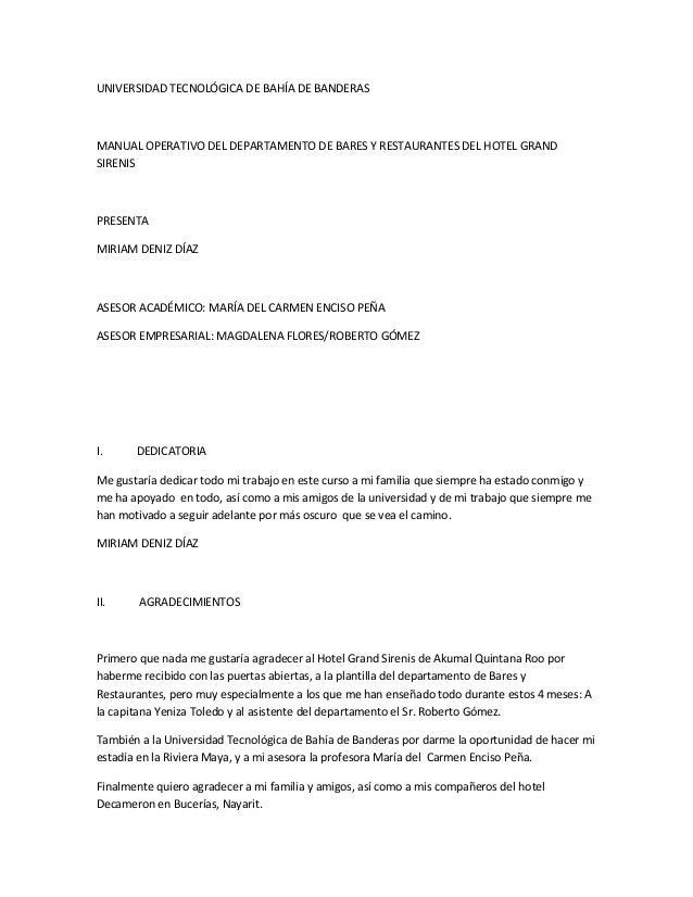 UNIVERSIDAD TECNOLÓGICA DE BAHÍA DE BANDERASMANUAL OPERATIVO DEL DEPARTAMENTO DE BARES Y RESTAURANTES DEL HOTEL GRANDSIREN...