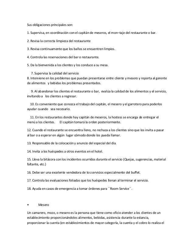 Manual operativo for Manual de procedimientos de un restaurante