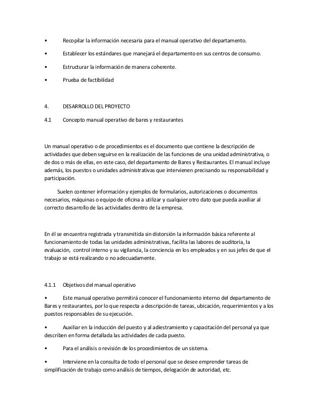 Manual operativo for Manual de procedimientos de cocina
