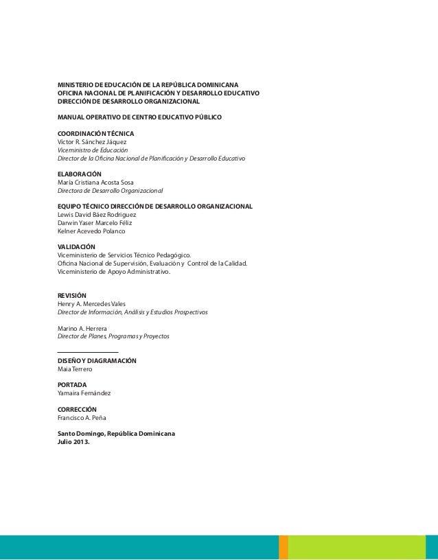 La educaci n dominicana manual operativo de escuelas for La oficina caracteristicas