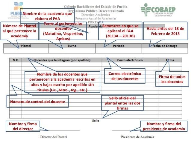 Nombre de la academia que elabora el PAA Número de Plantel al que pertenece la academia Turno al pertenece los docentes (M...