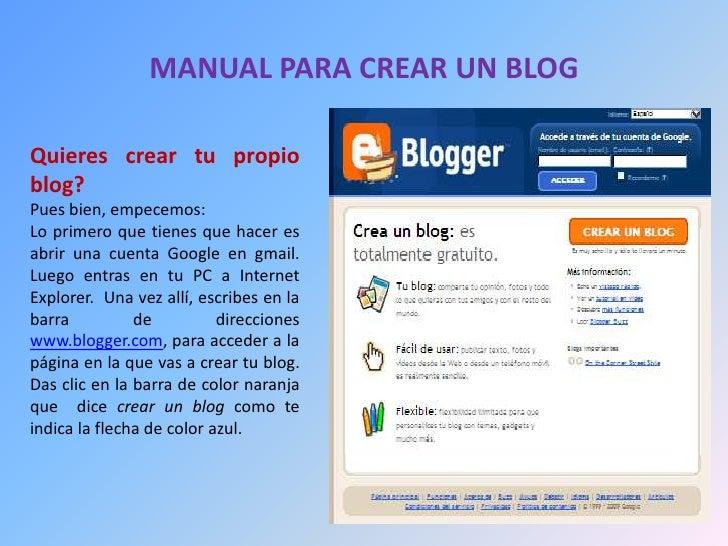 Manual para crear un blog for Como hacer tu propio astringente herbal