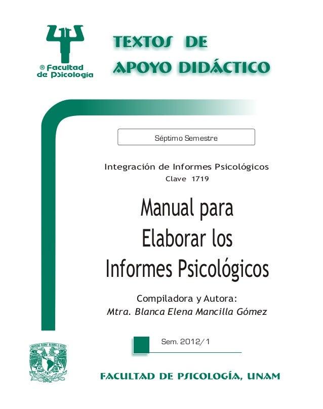 Manual para elaborar los informes
