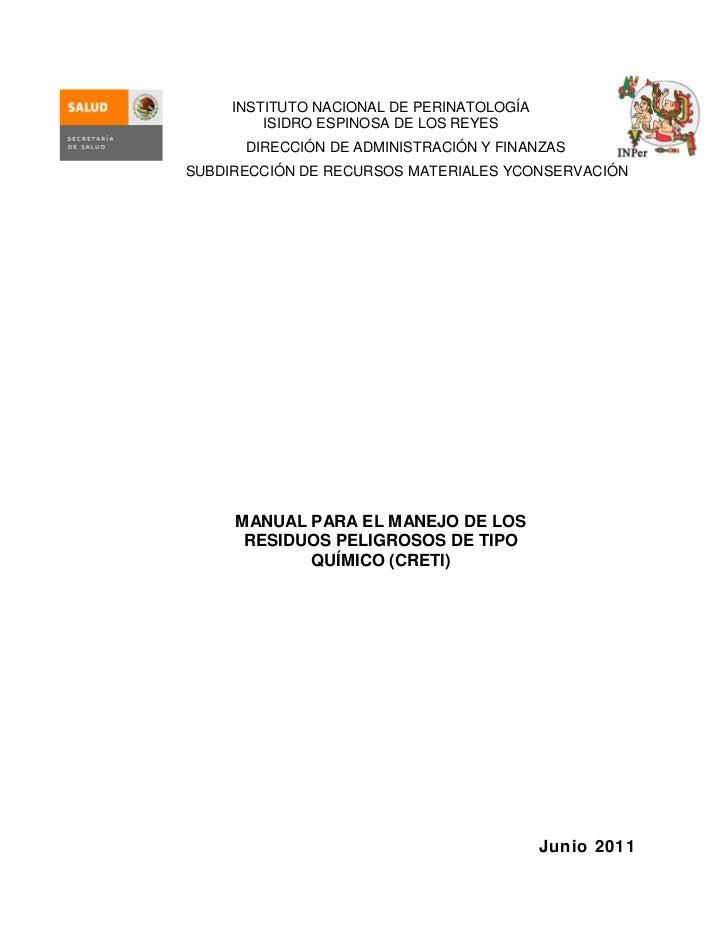 Manual para el manejo de los residuos peligrosos del tipo quimico