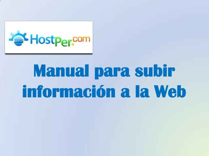 Manual para subirinformación a la Web