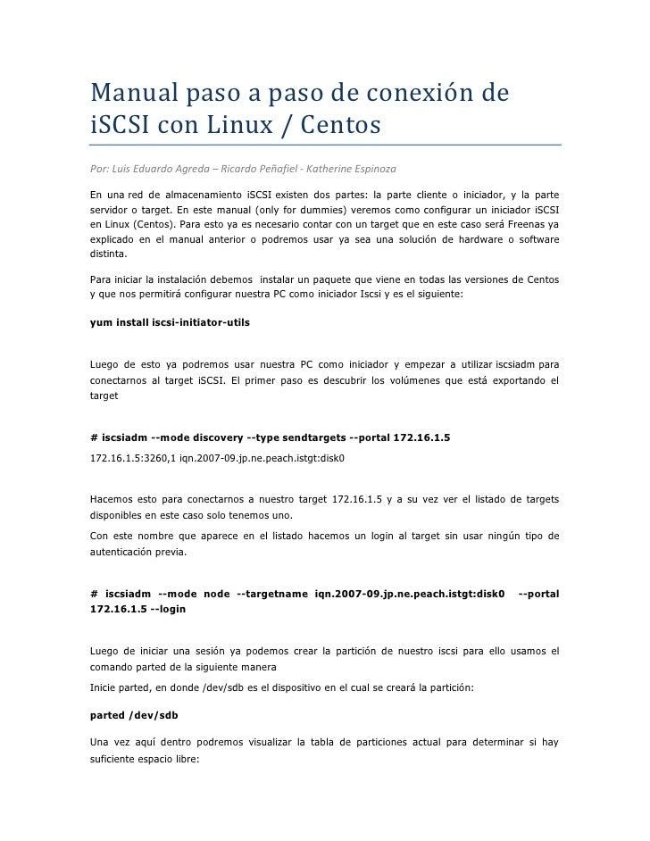 Manual de conexión de iscsi con linux