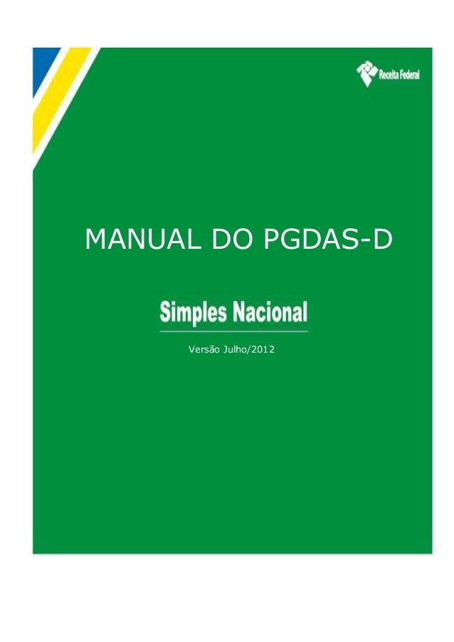 MANUAL DO PGDAS-D  Versão Julho/2012