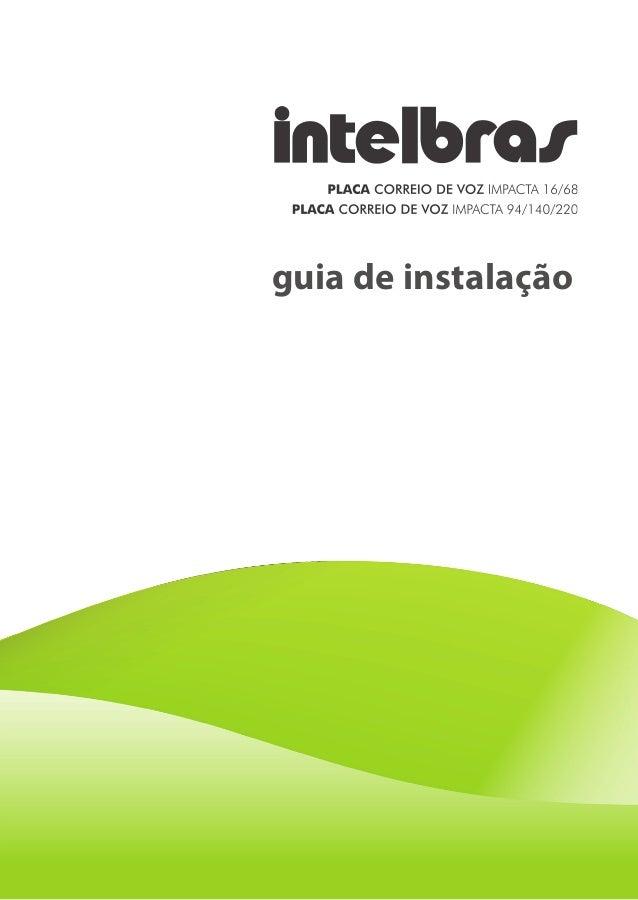 Manual Placa Correio de Voz Impacta Intelbras - LojaTotalseg.com.br