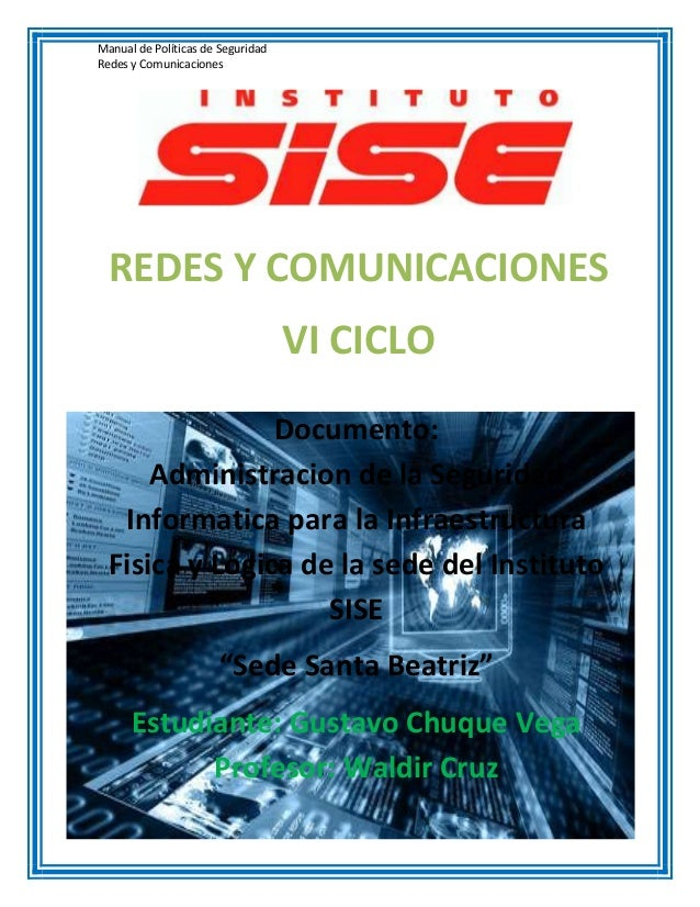 Manual de Políticas de SeguridadRedes y Comunicaciones  REDES Y COMUNICACIONES                                   VI CICLO ...