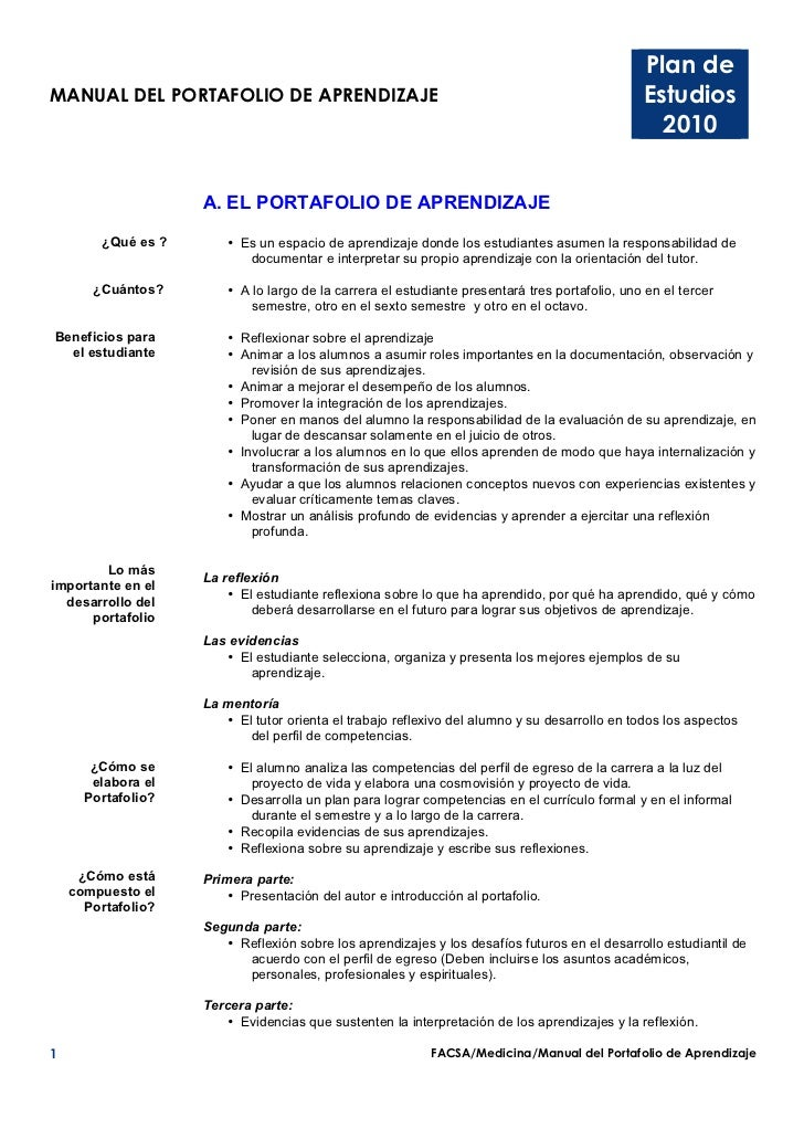 Plan deMANUAL DEL PORTAFOLIO DE APRENDIZAJE                                                             Estudios          ...