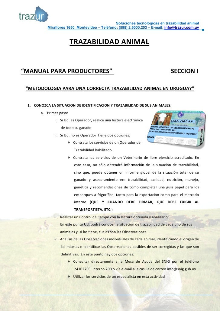MANUAL PRACTICO DE TRAZABILIDAD ANIMAL EN URUGUAY