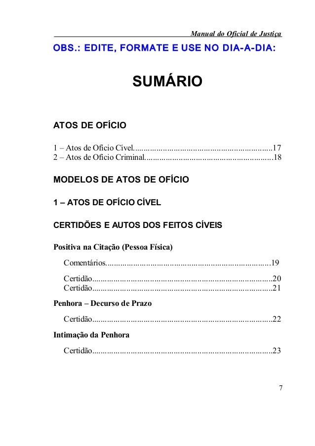 Manual do Oficial de JustiçaOBS.: EDITE, FOR MATE E USE NO D IA- A- DIA :                                 SUMÁRIOATOS DE O...