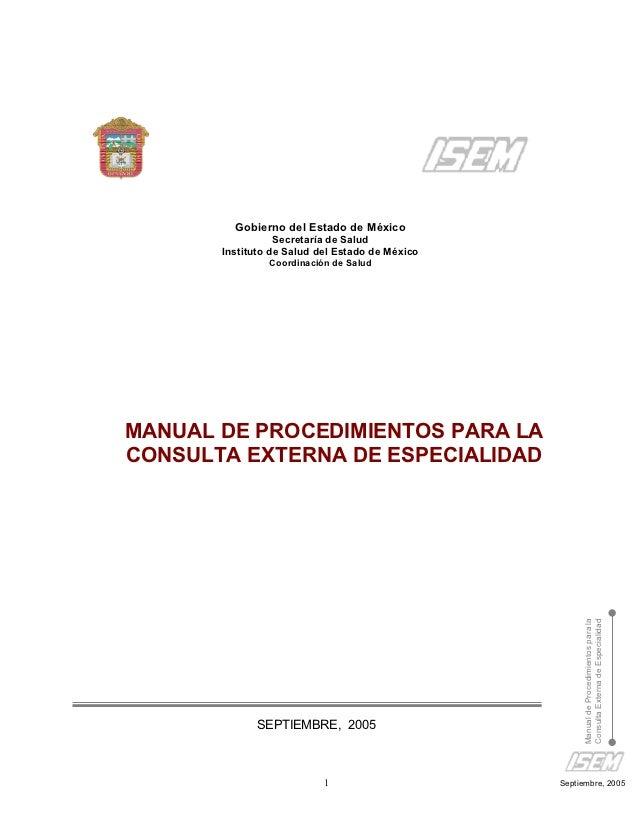 Manual de procedimientos de la  consulta externa (formatos)