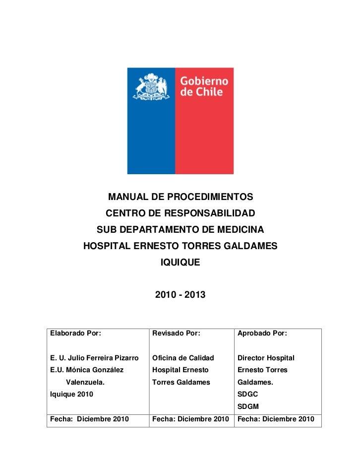MANUAL DE PROCEDIMIENTOS                  CENTRO DE RESPONSABILIDAD               SUB DEPARTAMENTO DE MEDICINA          HO...