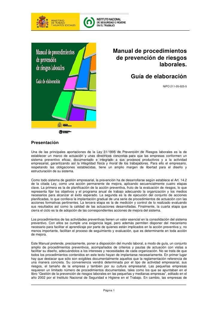 Manual de procedimientos                                                          de prevención de riesgos                ...