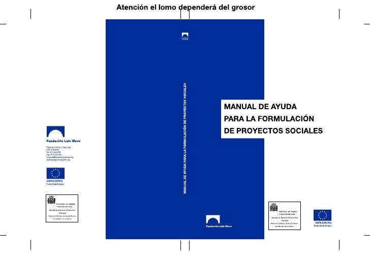 MANUAL DE AYUDA  PARA LA FORMULACIÓNDE PROYECTOS SOCIALES