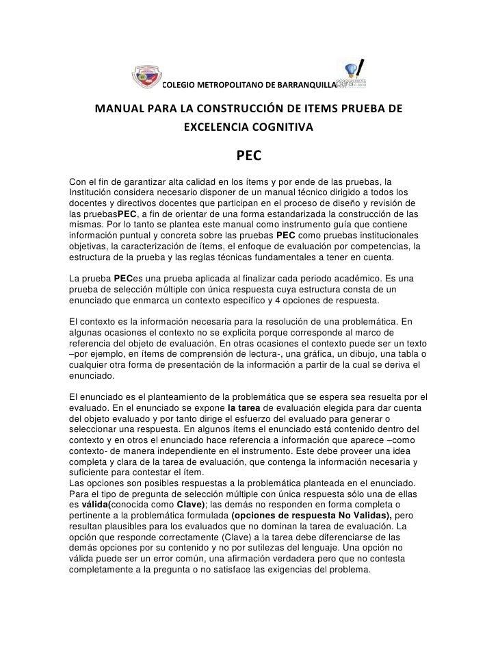 COLEGIO METROPOLITANO DE BARRANQUILLA      MANUAL PARA LA CONSTRUCCIÓN DE ITEMS PRUEBA DE                   EXCELENCIA COG...
