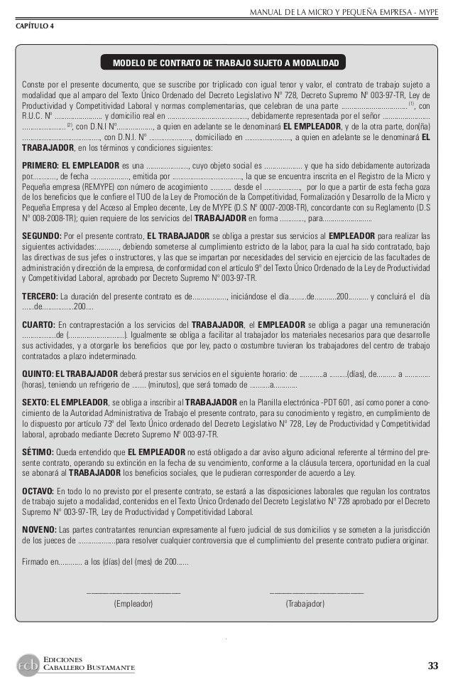 Manual pyme for Formato de contrato de trabajo