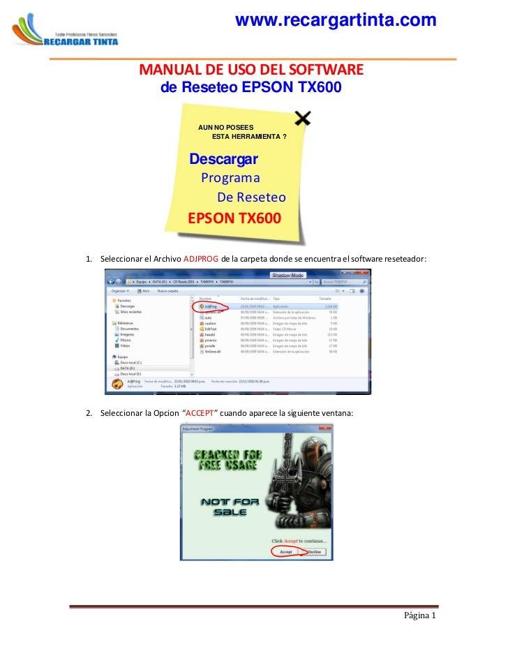 www.recargartinta.com              MANUAL DE USO DEL SOFTWARE                   de Reseteo EPSON TX600                    ...