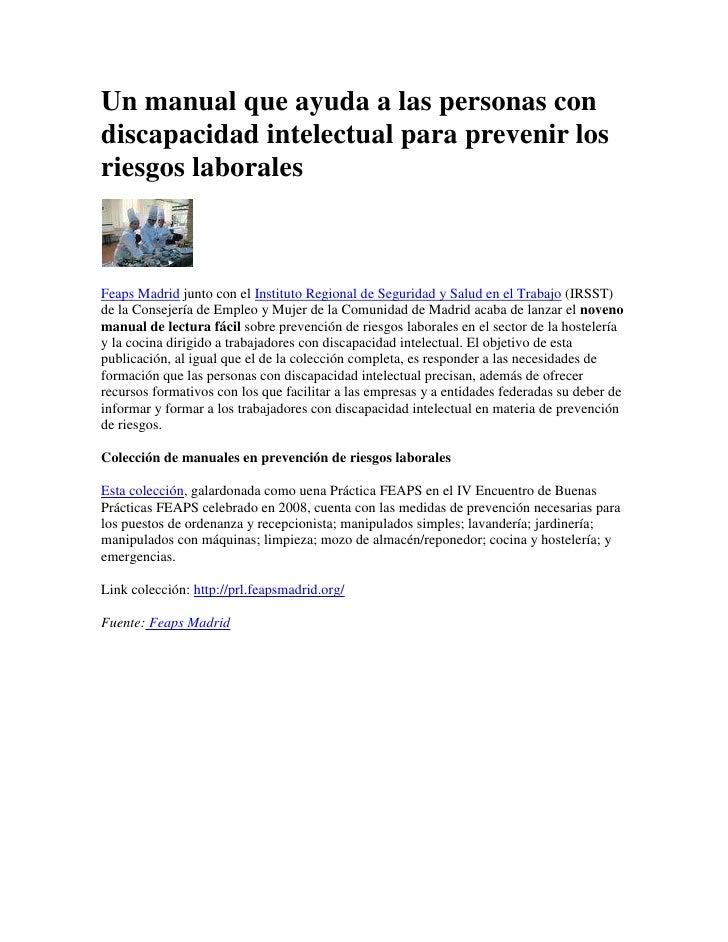 Un manual que ayuda a las personas con discapacidad intelectual para prevenir los riesgos laborales <br />Feaps Madrid jun...