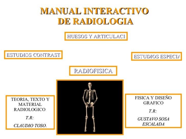 MANUAL INTERACTIVO  DE RADIOLOGIA TEORIA, TEXTO Y MATERIAL RADIOLOGICO  T.R:  CLAUDIO TOSO .  FISICA Y DISEÑO GRAFICO T.R:...