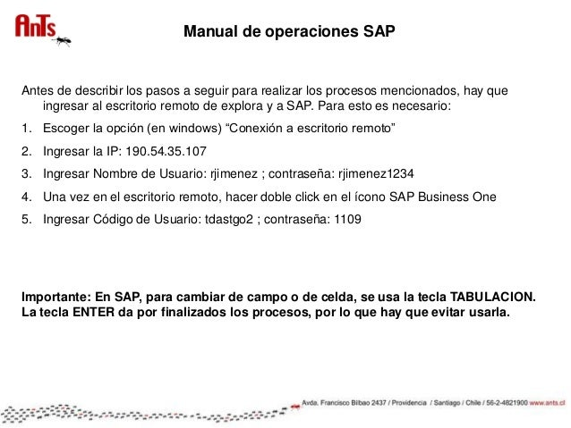 Manual sap business one - Cambiar ip usa ...