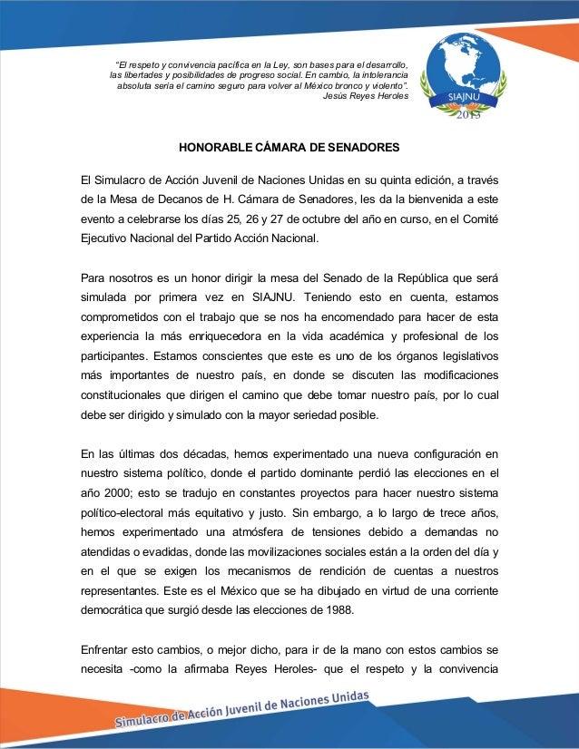HONORABLE CÁMARA DE SENADORES El Simulacro de Acción Juvenil de Naciones Unidas en su quinta edición, a través de la Mesa ...