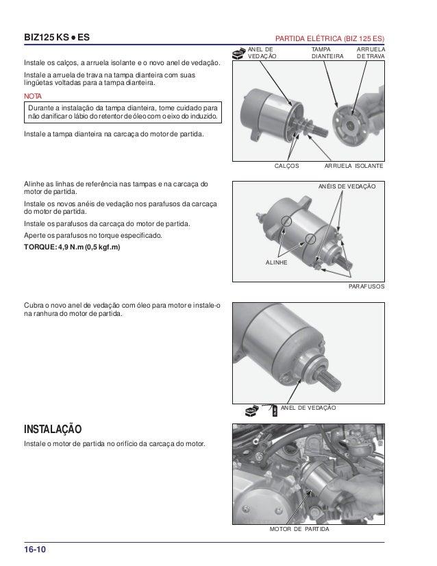 Manual serviço biz125 ks es 00 x6b-kss-001 partida-eletrica