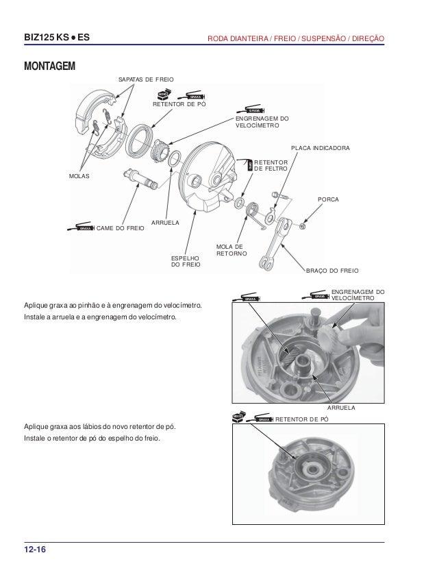 Manual serviço biz125 ks es 00 x6b-kss-001 roda-dianteira
