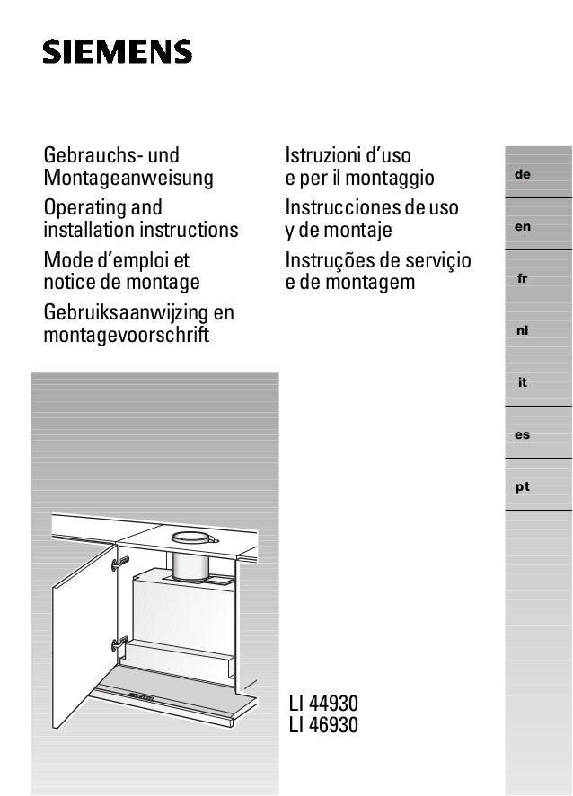 LI 44930 LI 46930 de en fr nl it es pt Gebrauchs- und Montageanweisung Operating and installation instructions Mode d'empl...