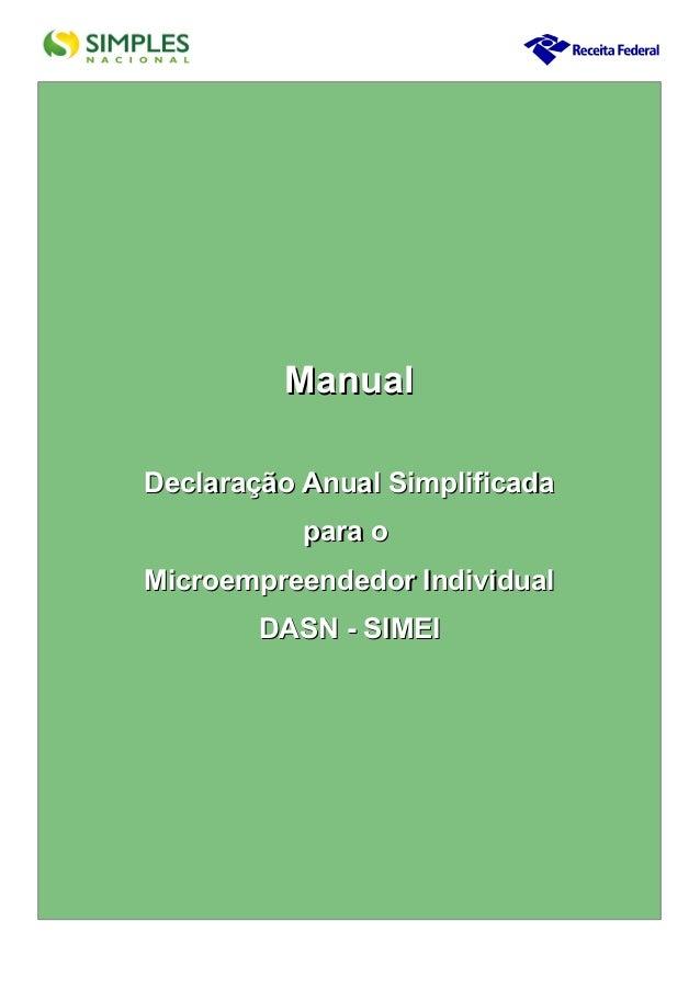 Manual Declaração Anual Simplificada para o Microempreendedor Individual DASN - SIMEI