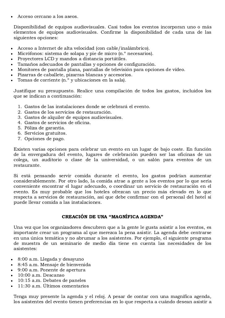 Manual sobre la organizaci n de eventos for Manual de procedimientos de un restaurante