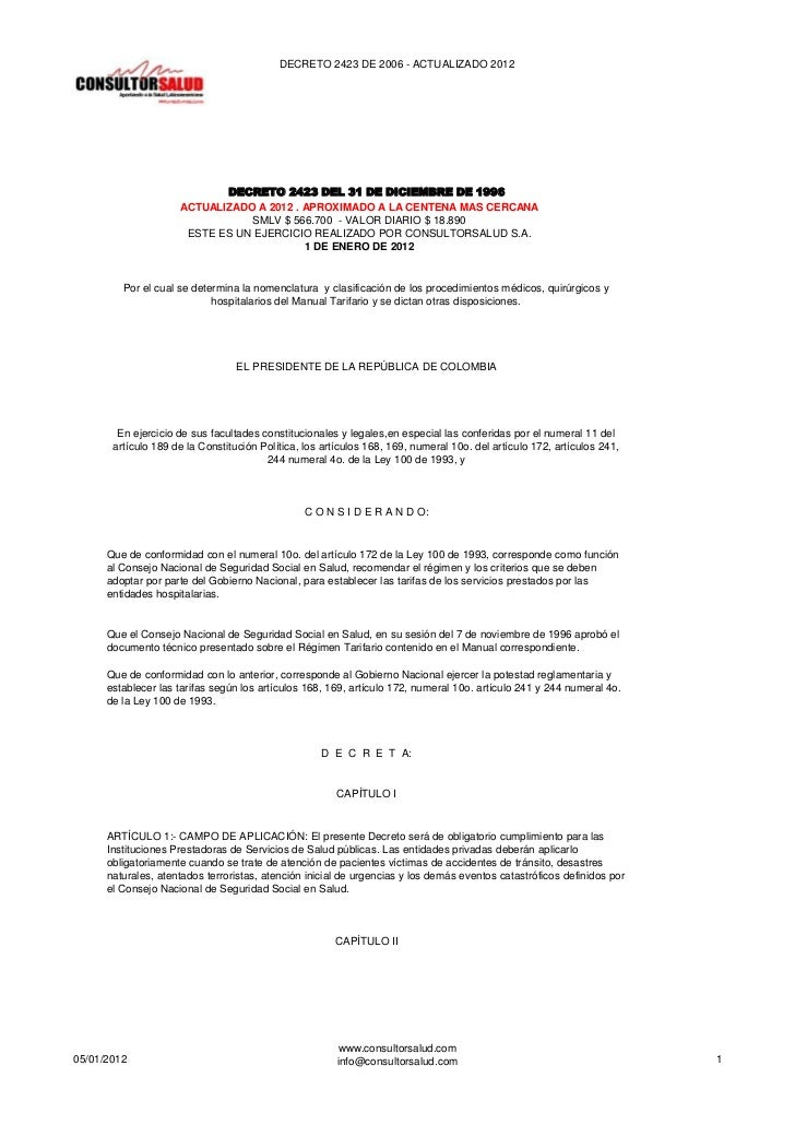 DECRETO 2423 DE 2006 - ACTUALIZADO 2012                            DECRETO 2423 DEL 31 DE DICIEMBRE DE 1996               ...