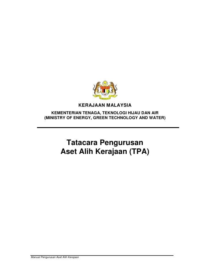 Manual Tatacara Pengurusan Aset Alih Kerajaan (TPA)