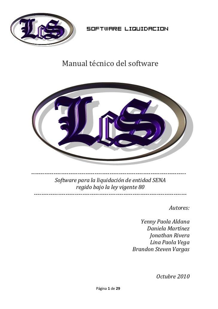 Software liquidacion                Manual técnico del software-----------------------------------------------------------...