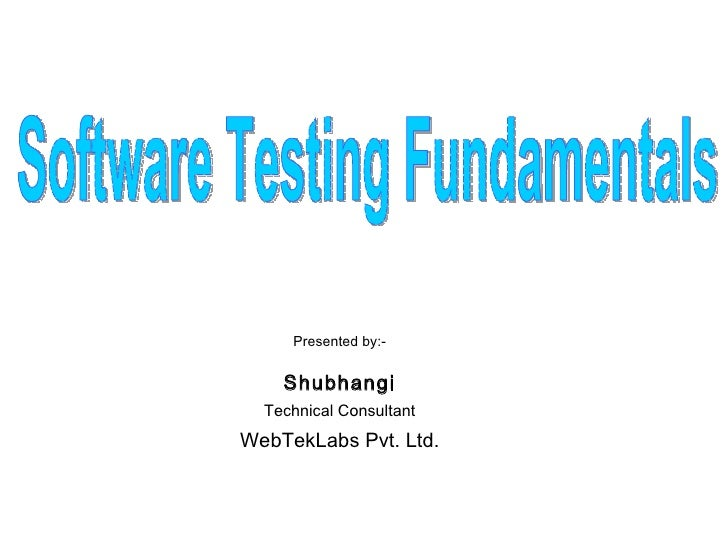 Software Testing Fundamentals