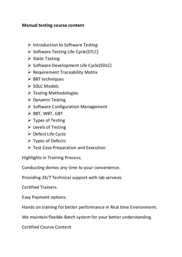 Manual testing course content  Introduction to Software Testing  Software Testing Life Cycle(STLC)  Static Testing  So...