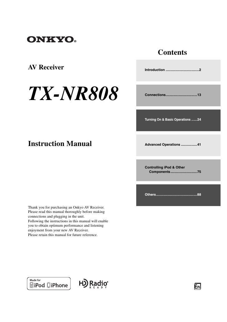 ContentsAV Receiver                                             Introduction ...................................2TX-NR808 ...