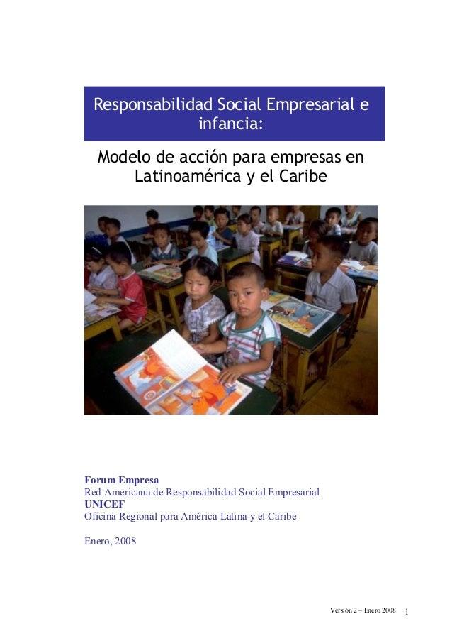 Responsabilidad Social Empresarial e              infancia:  Modelo de acción para empresas en      Latinoamérica y el Car...