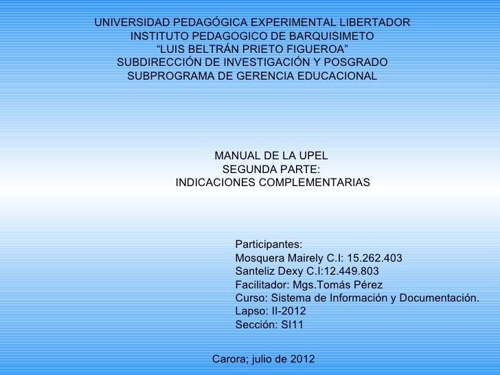 "UNIVERSIDAD PEDAGÓGICA EXPERIMENTAL LIBERTADOR     INSTITUTO PEDAGOGICO DE BARQUISIMETO         ""LUIS BELTRÁN PRIETO FIGUE..."