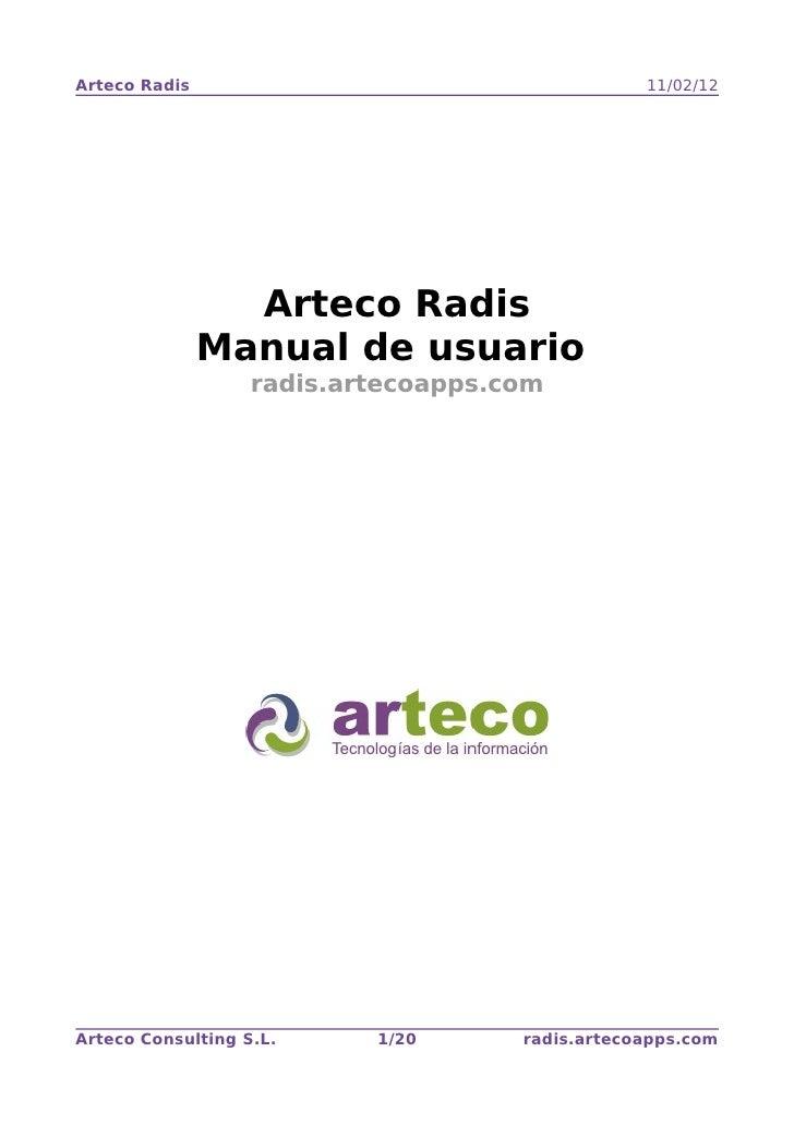 Arteco Radis                                     11/02/12                 Arteco Radis               Manual de usuario    ...