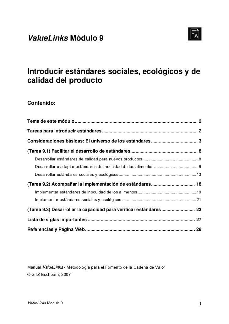 ValueLinks Módulo 9Introducir estándares sociales, ecológicos y decalidad del productoContenido:Tema de este módulo .........